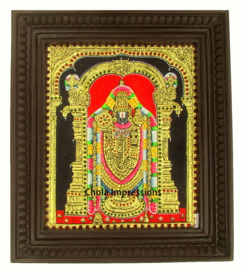 Balaji Tanjore Painting -  22 Carat Gold foil decorated - Medium Sizes