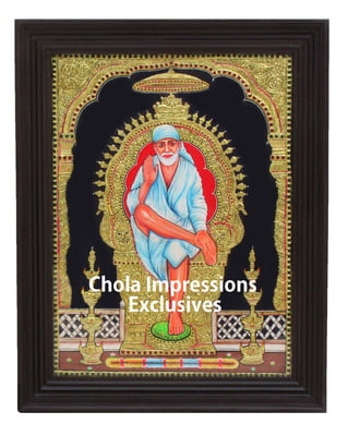 Saibaba Tanjore Painting - 2 ft x 1.5 ft - Chola Impressions Exclusive