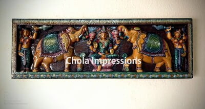 Gaja Lakshmi Wooden Wall Panel