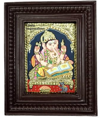 Lord Ganesh Writing Scripture Tanjore Painting - Small size