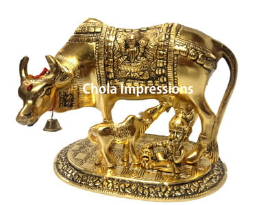 Gomatha with Calf and Lord Krishna Brass idol
