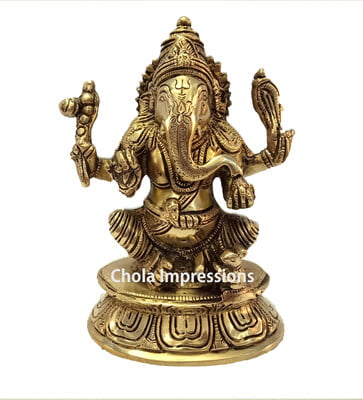 Lord Ganesh Brass Statue - 7 inches