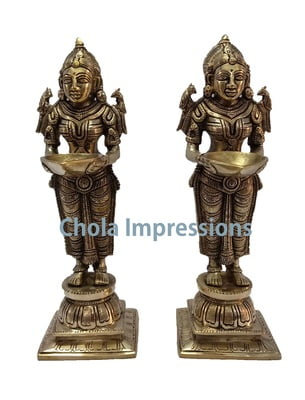 Deepa Lakshmi/ Paavai Vilakku Brass Idol Pair - 10 inches