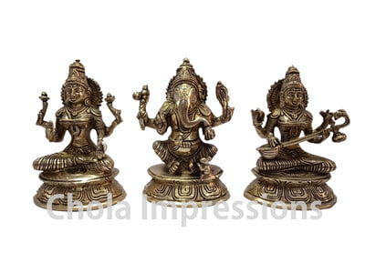 Lakshmi Ganesh Saraswati Brass Idol Set - 7 inches