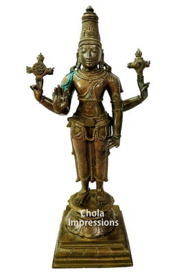 Lord Vishnu Panchaloha Idol in Antique Finish