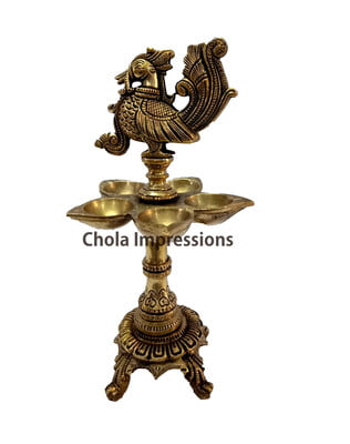 Raja Hamsa (Swan) Brass oil Lamp - 9 inches