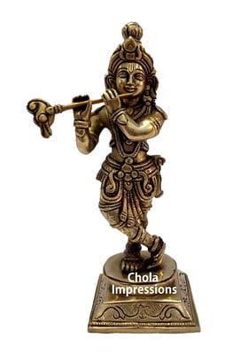 Lord Krishna Brass Statue - 9 inches