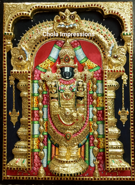 Super Embossed Statue-like Balaji Tanjore Painting -  with American Diamonds