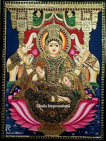 Lakshmi Devi on Lotus Tanjore Painting - 2 ft x 1.5 ft