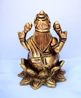 Laskshmi Devi on Lotus Brass Statue - 9 cm x  6 cm