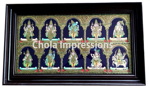 Dasavatharam Tanjore Painting - 3 ft x 1.75 ft - Chola Impressions Exclusive Collection
