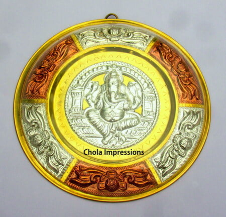 Ganesh Tanjore Metal Art plate/ shield Wall Hanging - Made of Silver, Brass & Copper