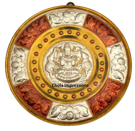 Chola Impressions Divine Gaja Lakshmi Tanjore Art Shield   7 inch   Brass  Copper   Silver Wall Hanging