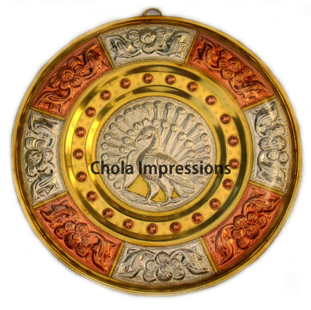 Chola Impressions Peacock Tanjore Art Shield   8 inch   Brass  Copper   Silver Wall Hanging