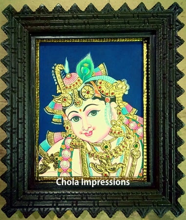 Krishna Face Portrait Tanjore Painting in Traditional Tanjore Style - Chettinad Teak wood Frame