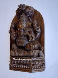 Lord Ganesh Wooden Statue - Back side flat