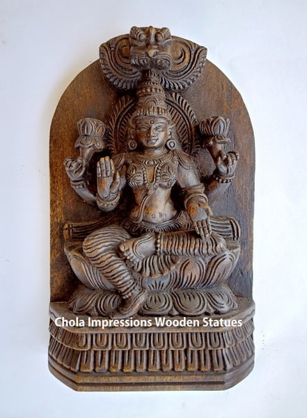 Chola Impressions Antique Finish Lakshmi Devi Wooden Statue   1 Foot