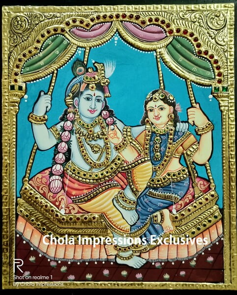Radha Krishna on Swing Antique Style Tanjore Painting