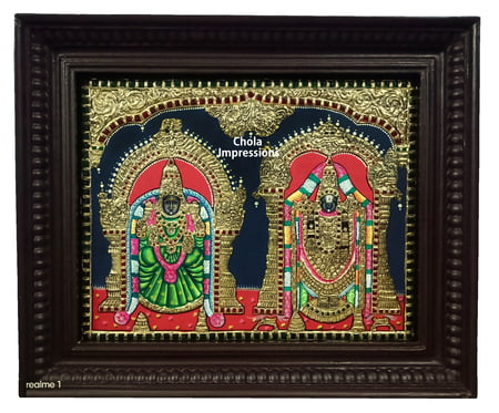 Balaji Thayar (Padmavati) Tanjore Painting - Multiple sizes
