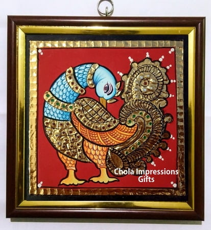 Royal Swan Miniature Tanjore Painting - 5x5 inches