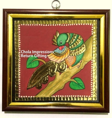 Parrot Miniature Tanjore Painting - 5x5 inches