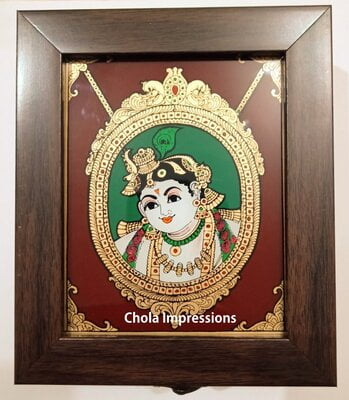 Krishna Reverse glass painting Jewel Box
