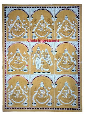 Ashtalakshmi Ready Made Embossed Tanjore Muck board - 24x18
