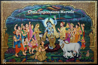 Govardhana Giri Krishna Tanjore Painting - Exclusive Collection