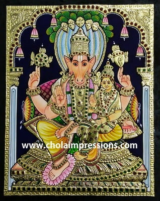 Lakshmi Hayagrivar Tanjore Painting - 1.5 ft x 1.25 ft - Exclusive Collection