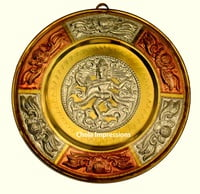 Nataraja Tanjore Metal shield - 7 inch - Made of Silver, Brass & Copper