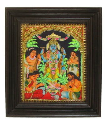 Satyanarayana Swami Pooja Tanjore Painting -  22 Carat Gold foil - 12in x 14in