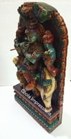 Lord Krishna Wooden Statue with Cow - Antique Finish