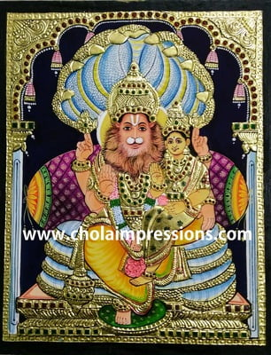 Lakshmi Narasimhar Tanjore Painting - 1.5 ft x 1.25 ft - Exclusive Collection