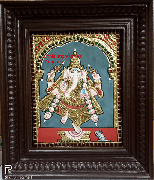 Antique style Dancing Ganesh Tanjore Painting - 10 In x 12 In