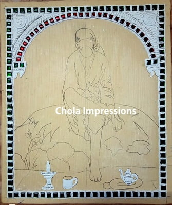 Sai Baba Ready made Embossed Tanjore Muck Board